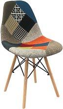 Sedia in tessuto Patchwork con gambe in legno