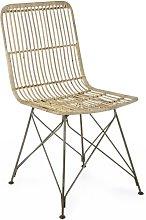 Sedia moderna in legno intrecciato con gambe in