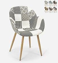 Sedia poltrona design patchwork nordico salotto