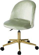 Sedia scrivania a rotelle in velluto verde e