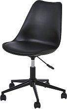Sedia scrivania regolabile nera a rotelle