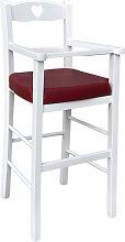 Seggiolone per bambini in legno bianco con seduta