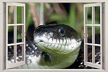 Serpente nero 3d vetrofania adesivo da parete