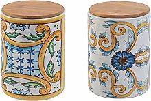 Set 2 Barattoli Scilla e Riggiole in ceramica e