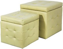 Set 2 Pouf Contenitore In Similpelle Biscube