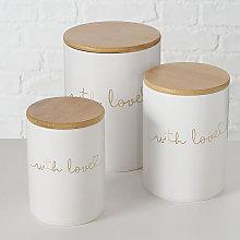 Set 3 barattoli in gres porcellanato bianco con