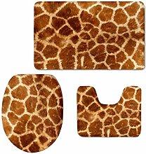 Set 3 Tappeti da Bagno - Stampa Giraffa