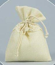 Set 30 pezzi, Bomboniera sacchetto stoffa iuta con