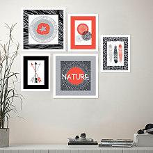 Set 5 quadri stile esotico stampe collage
