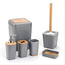 Set 6 pezzi di accessori per il bagno in plastica