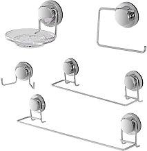 Set accessori bagno a muro cromato con fissaggio a