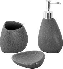 Set accessori bagno d'appoggio effetto pietra