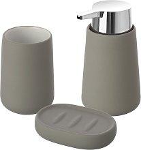 Set accessori bagno d'appoggio grigio in