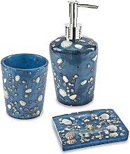 Set accessori da bagno 3 pezzi Antille azzurro
