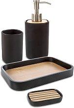 Set accessori da bagno 4 pezzi nero matto Plain di