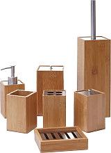 Set accessori da bagno HWC-A90 7 pezzi legno bambu