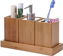 Set accessori da bagno HWC-B85 4 pezzi legno bambu