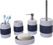 Set accessori da bagno HWC-C73 ceramica bianco blu