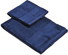Set Asciugamano 2 Pezzi Blu Scuro