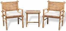 Set con 2 sedie e tavolo da giardino con cuscini