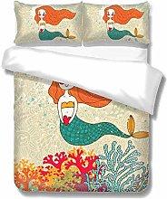 Set copripiumino Cartoon Mermaid con corallo Set