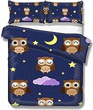 Set copripiumino Cartoon Owls in The Night Stars
