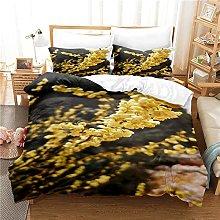 Set copripiumino fiori gialli, motivo floreale 3D