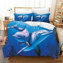 Set copripiumino, modello 3D delfino subacqueo blu