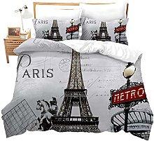 Set copripiumino, modello Torre Eiffel di Parigi,