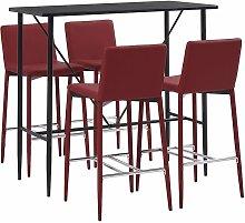 Set da Bar 5 pz in Similpelle Rosso Vino - Rosso -