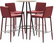 Set da Bar in Similpelle 5 pz Rosso Vino - Rosso -