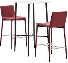 Set da Bar in Similpelle Rosso Vino 3 pz - Rosso -