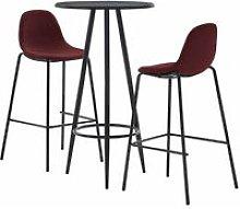 Set da Bar in Tessuto 3 pz Rosso Vino - Rosso -