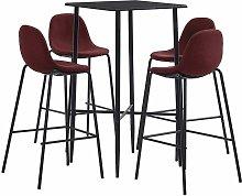 Set da Bar in Tessuto 5 pz Vino Rosso - Rosso -