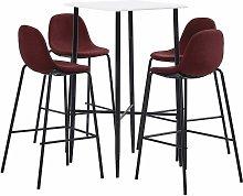 Set da Bar in Tessuto Rosso Vino 5 pz - Rosso -