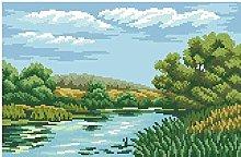 Set da ricamo a punto croce-Azzurro acqua 40X50