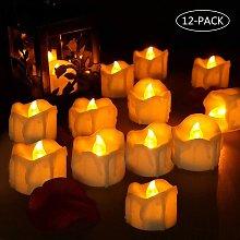 Set di 12 candele a LED, fiamma tremolante,