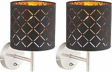 Set di 2 applique a LED design faretti tessili