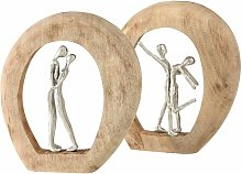 Set di 2 figure deco amore coppia scultura in