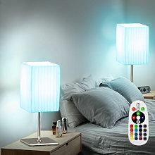 Set di 2 lampade da tavolo dimmer tessili remoto