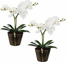 Set di 2 LED tavolo fiore di orchidea pentola