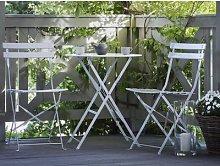 Set di 2 sedie e tavolino da caffè in acciaio