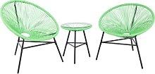 Set di 2 sedie verdi e tavolino da caffè stile