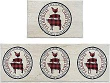 Set di 2 tappeti da bagno con animali della