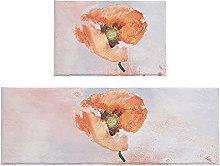 Set di 2 tappeti da bagno con papavero arancione