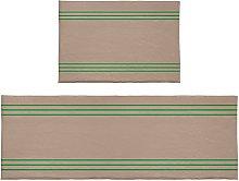 Set di 2 tappeti da bagno semplici a righe verde
