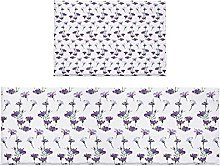 Set di 2 tappeti da bagno viola astratti fiori