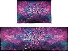 Set di 2 tappeti da bagno viola farfalla tappeto