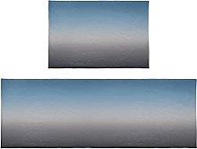 Set di 2 tappetini da bagno blu e grigio Ombre