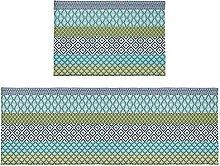 Set di 2 tappetini da bagno boho a righe tribali